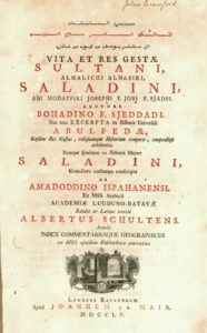 """Title page of the first print edition of Ibn Shaddad's """"Life of Saladin,"""" a bilingual Arabic-Latin volume published in Leiden in 1732"""
