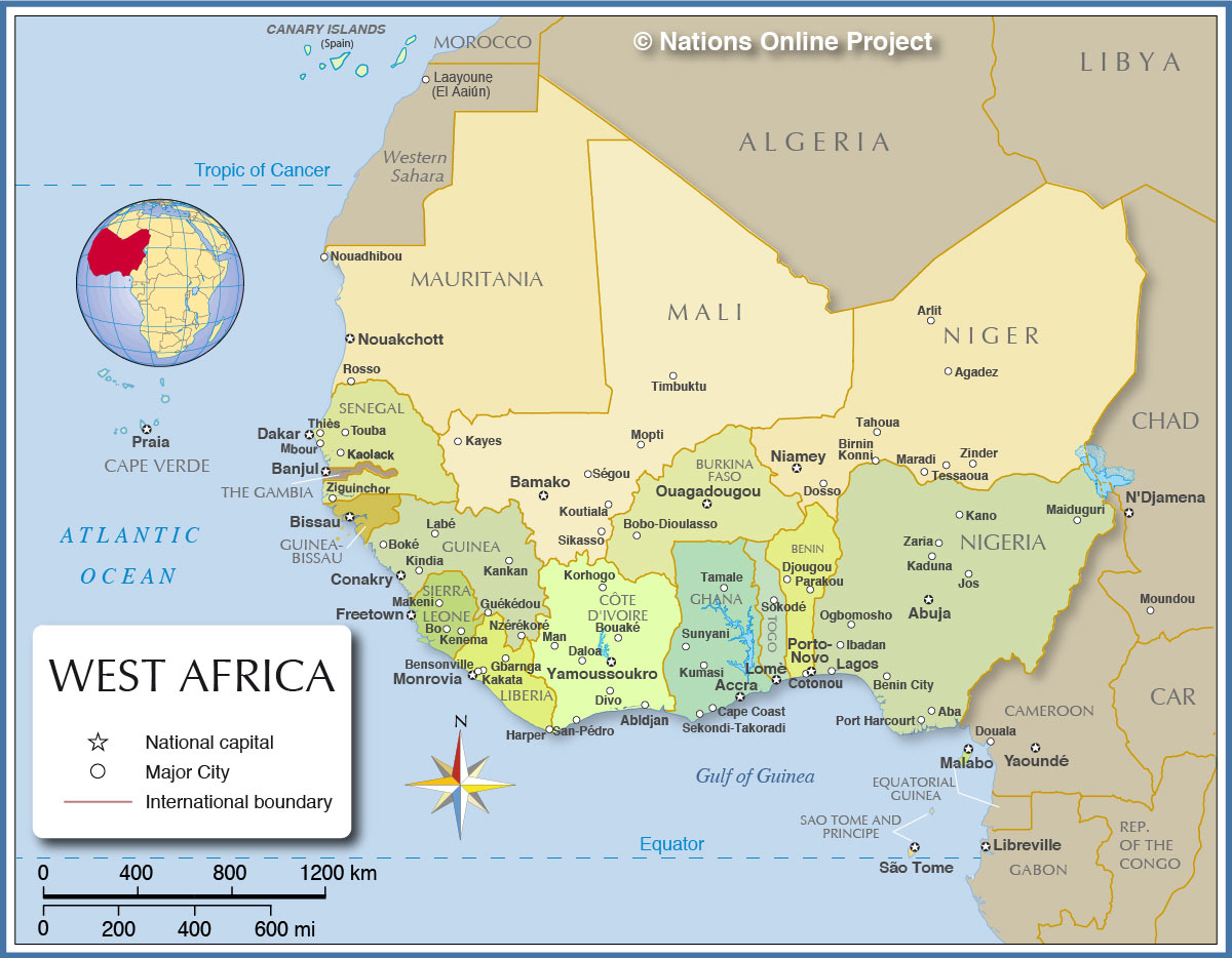 Map Of West Africa Coast a thurston west africa political map   Maydan