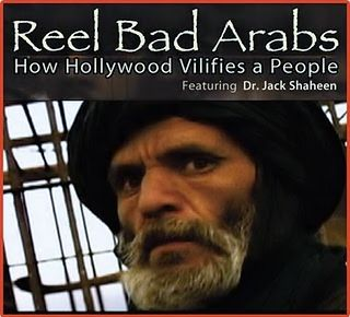 "stereotyped arab in the film reel bad arabs Shaheen's response was to give michael and michele an assignment as ""monitors"" of saturday morning cartoons ""looking for bad, evil arabs."