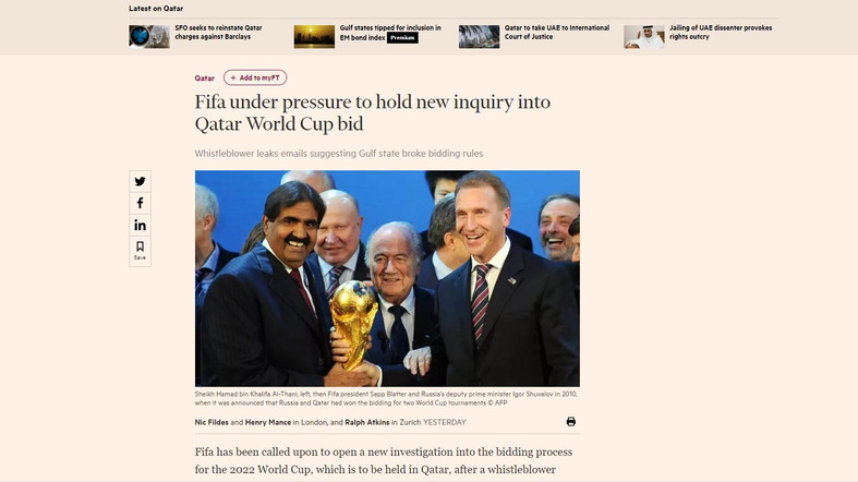 FIFA Under Pressure to Hold Inquiry into Qatar World Cup Bid