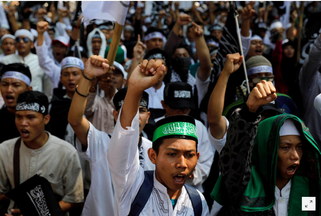 Indonesian Muslims hold protest to demand justice for flag burning