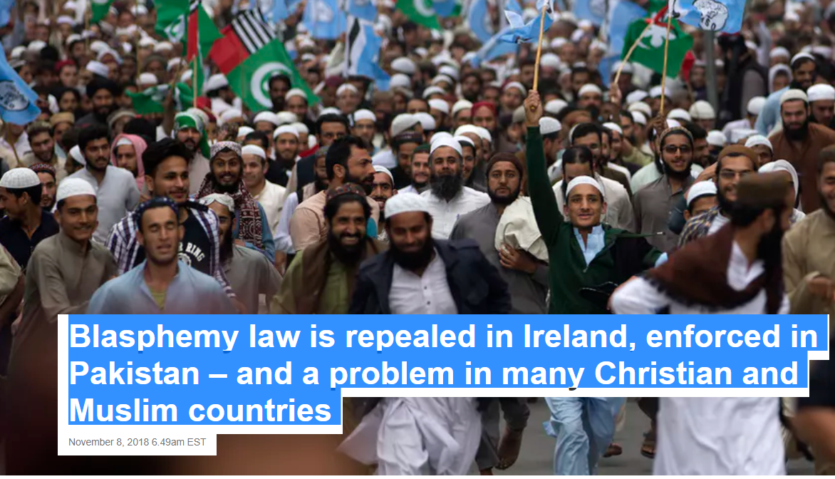 Blasphemy law is repealed in Ireland, enforced in Pakistan – and a problem in many Christian and Muslim countries