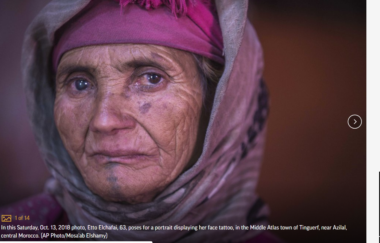 AP PHOTOS: In Morocco, tribal tattoos fade with age, Islam