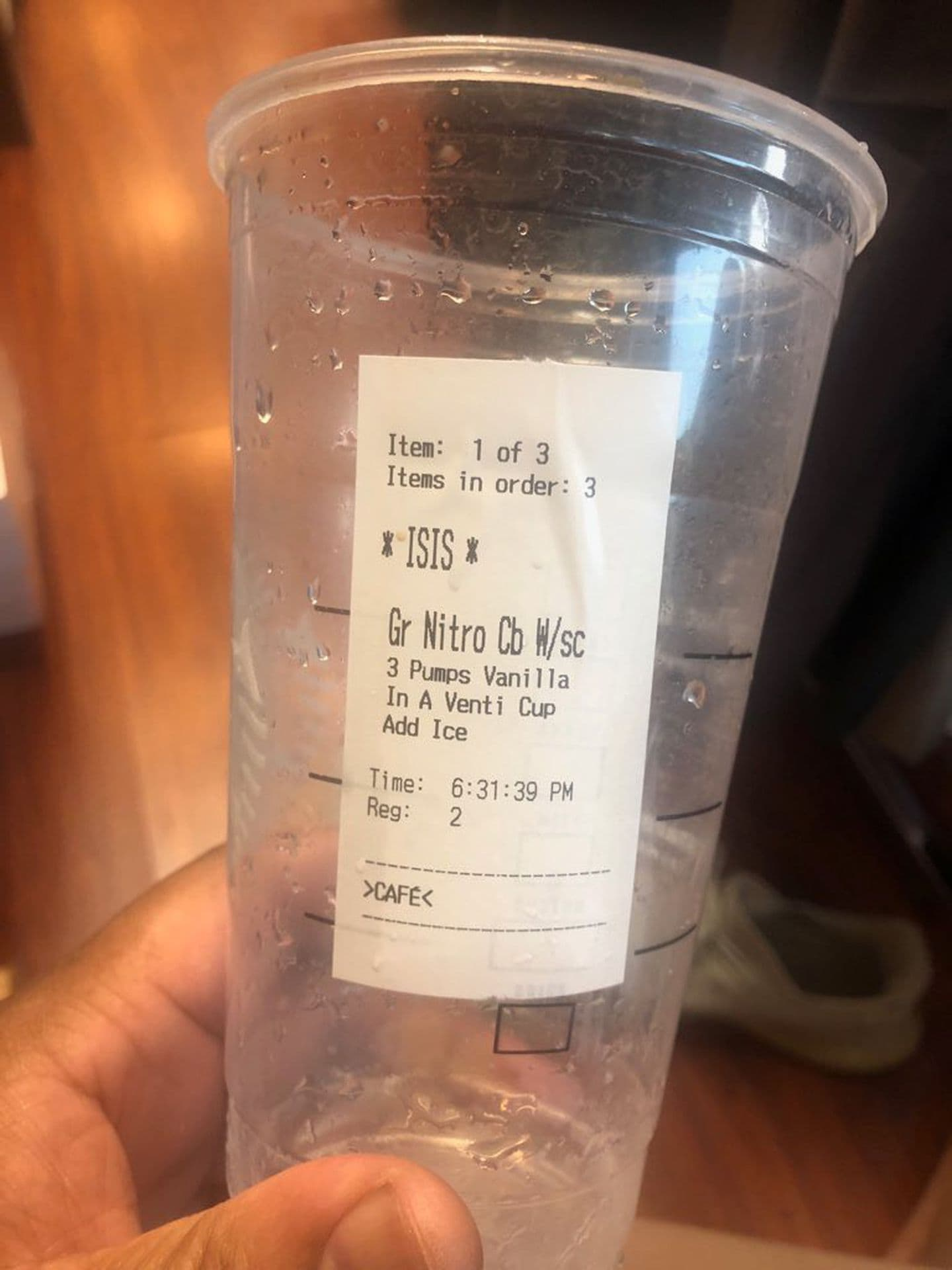 A man in Islamic dress told a Starbucks employee his name was Aziz. She put 'ISIS' on the cup