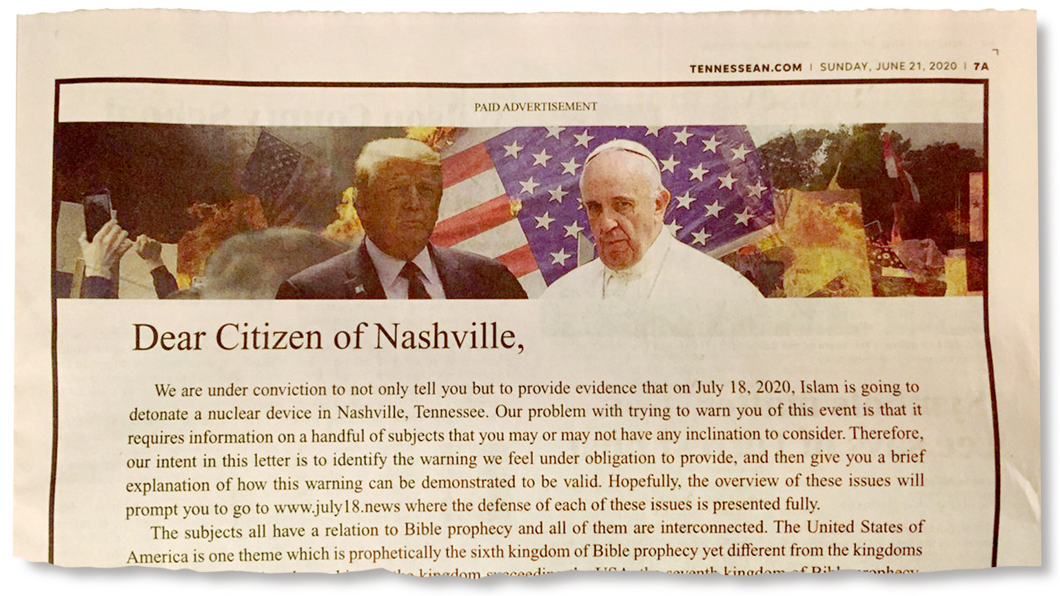 Newspaper Apologizes for 'Horrific' Ad that Claims 'Islam' was Going to Bomb Nashville