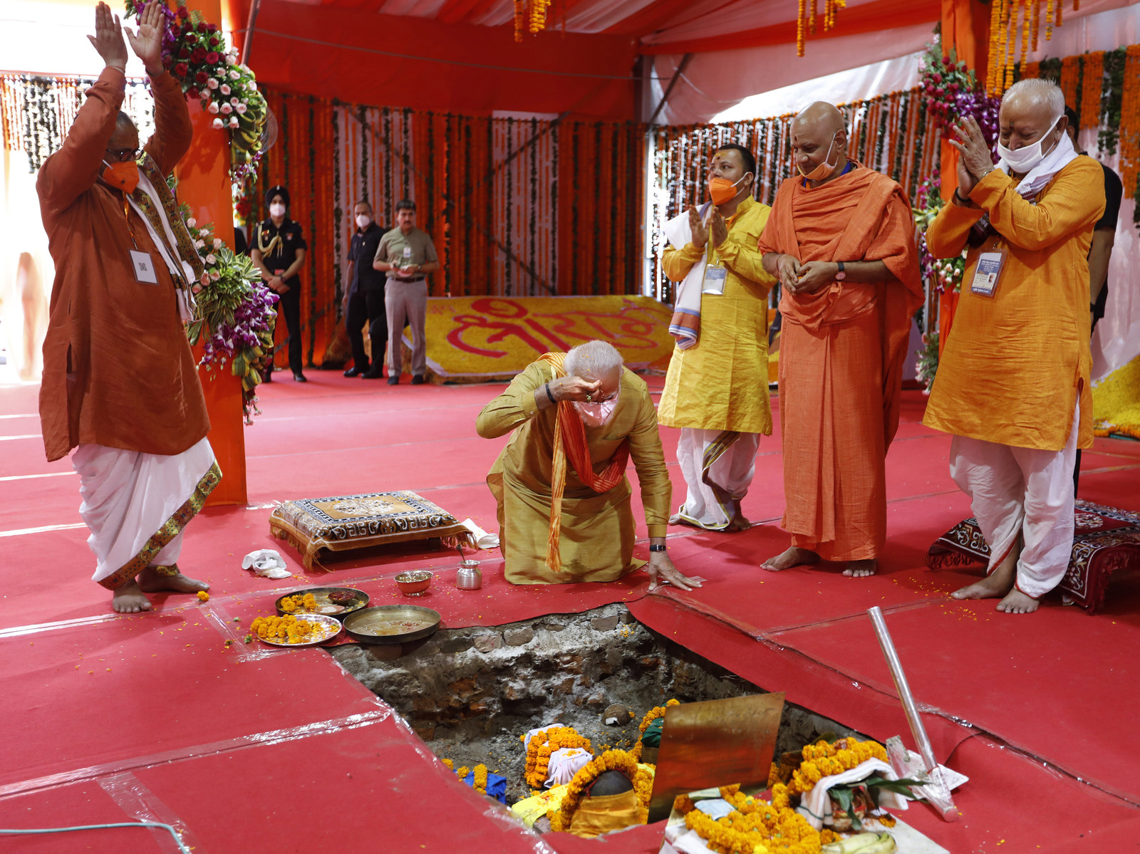At Site Of Razed Mosque, India's Modi Lays Foundation For Controversial Hindu Temple
