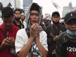 Muslim Protesters March against Indonesia's New Labour Law